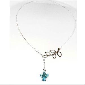 Jewelry - Vintage Aquamarine Swarovski Leaf Drop Necklace
